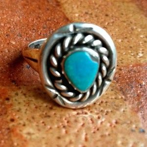 Vintage 40s NA Turquoise + Sterling Silver Ring 6
